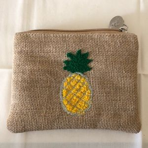 A&B embroidered Jute pineapple coin purse